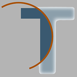 stylized logo incorporates T for Tom, L for Lesser and a camera lens effect